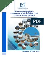 Normes Pedagogiques Complementaires Cu 29juillet2015 Final