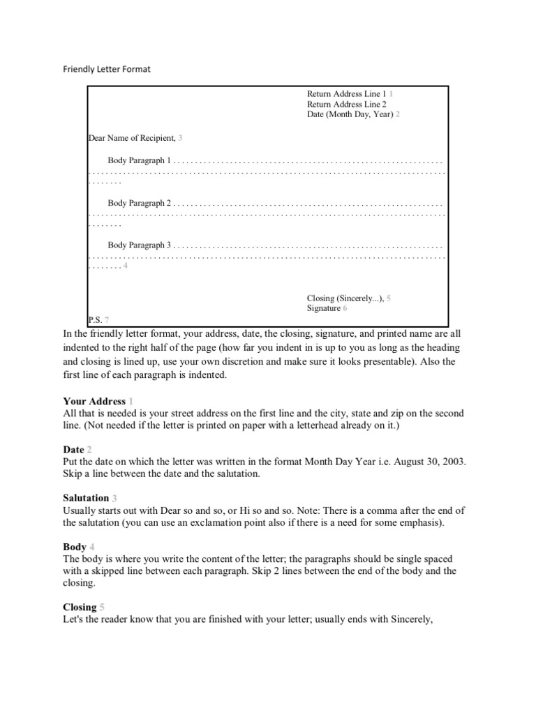 friendly letter format paragraph writing