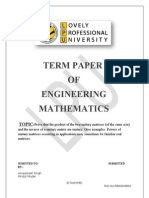 MTH 101 Term Paper by Mridul