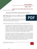 Sterling Bank PLC FY 2010 Earnings Release