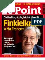 Civilisation, École, Laicité, Identité, La France d'Alain Finkielkraut (Le Point, Avril 2015)