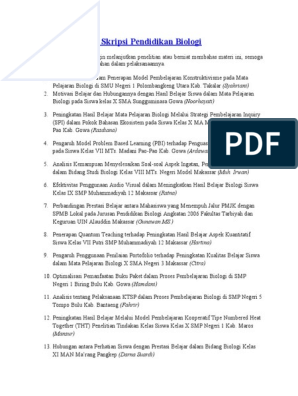 Kumpulan Judul Skripsi Pendidikan Biologi