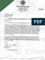 Florida Bar Letter closing complaint filed by Margaret Dunmire