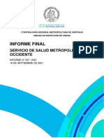Informe de Contraloría sobre Servicio de Salud Metropolitano Occidente