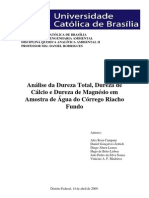 Análise da Dureza Total, Dureza de Cálcio e Dureza de Magnésio em Amostra de Água do Córrego Riacho Fundo