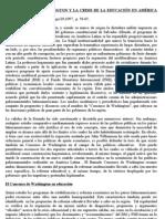 EL CONSENSO DE WASHINGTON Y LA CRISIS DE LA EDUCACIÓN EN AMÉRICA LATINA
