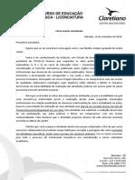 Carta Do Coordenador Atividade Substitutiva Das Aulas Práticas