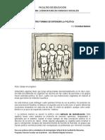 CUATRO FORMAS DE ENTENDER LA POLÍTICA(1)