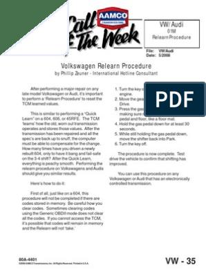 Volkswagen Relearn Procedure | Volkswagen | Audi