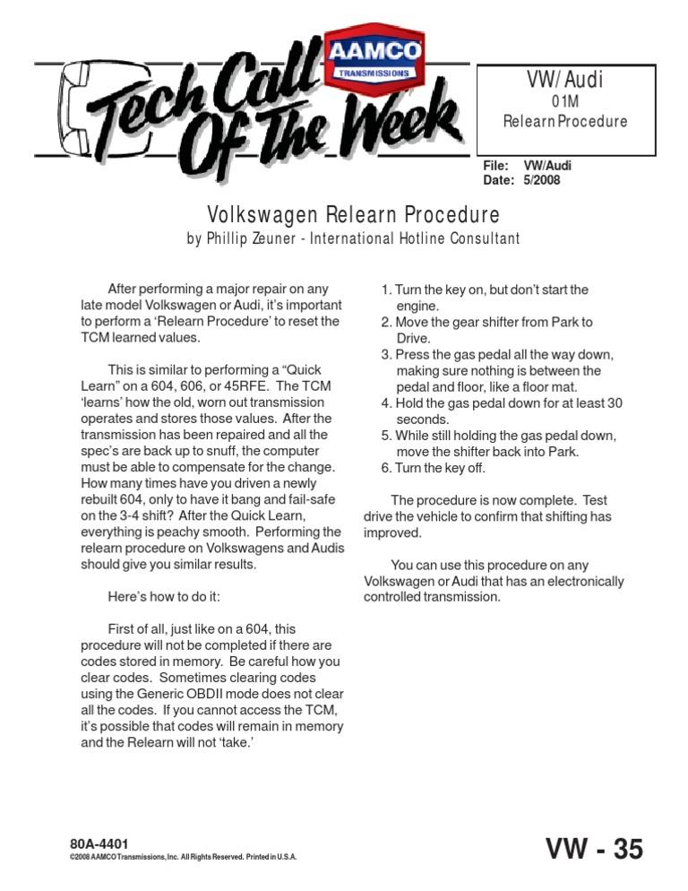 Volkswagen Relearn Procedure   Volkswagen   Audi