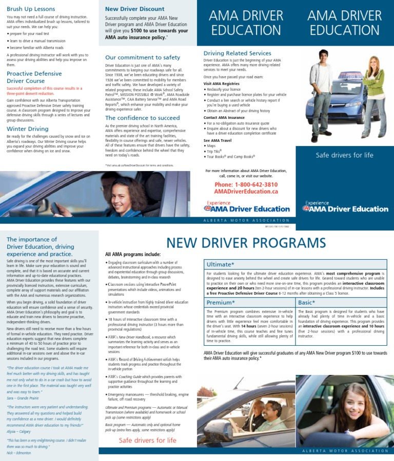 How Much Is Drivers Ed >> Ama Driver Education General Brochure Driving Vehicle Insurance