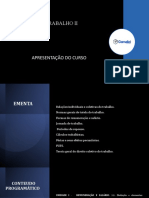 APRESENTAÇÃO DO CURSO - DIREITO DO TRABALHO II - 2021.02