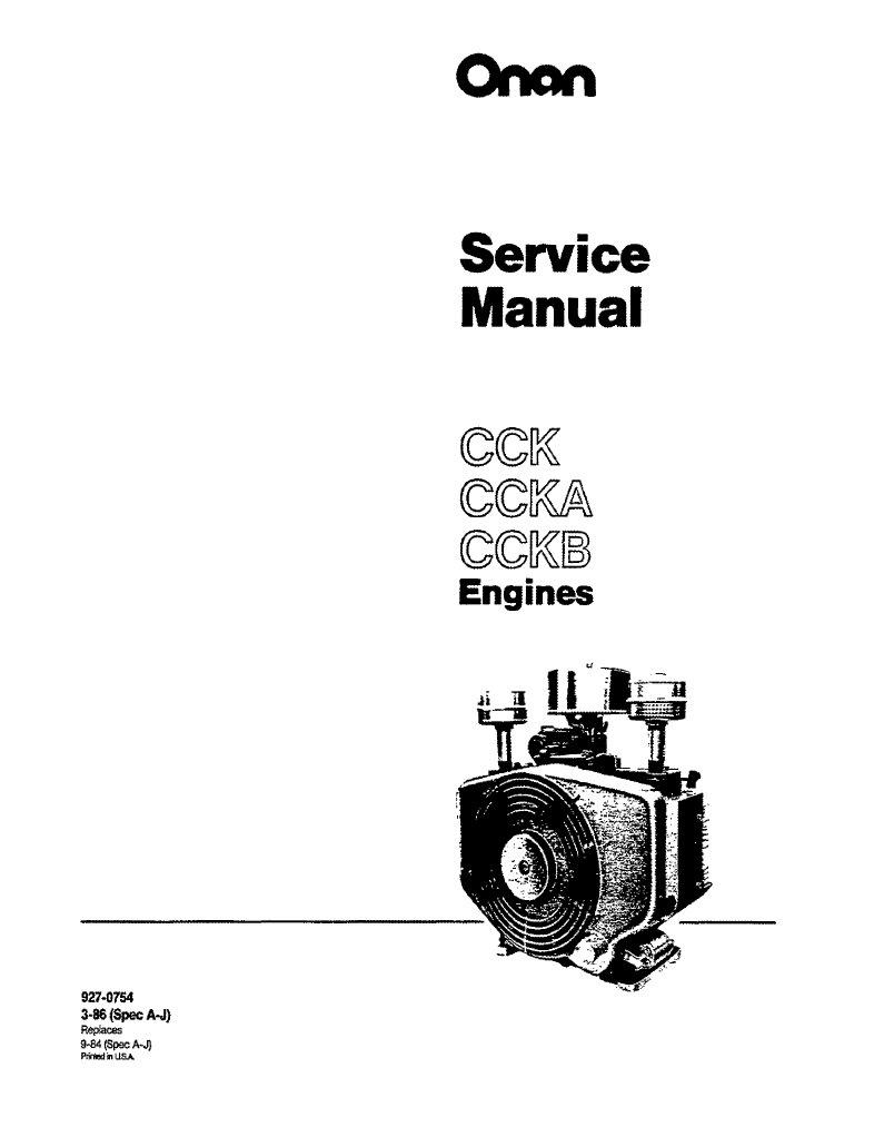 Onan Service Manual Cck Engine 927 0754 Lincoln Sa 200