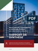 Rapport - Renouveau de la francophonie à l'Université d'Ottawa