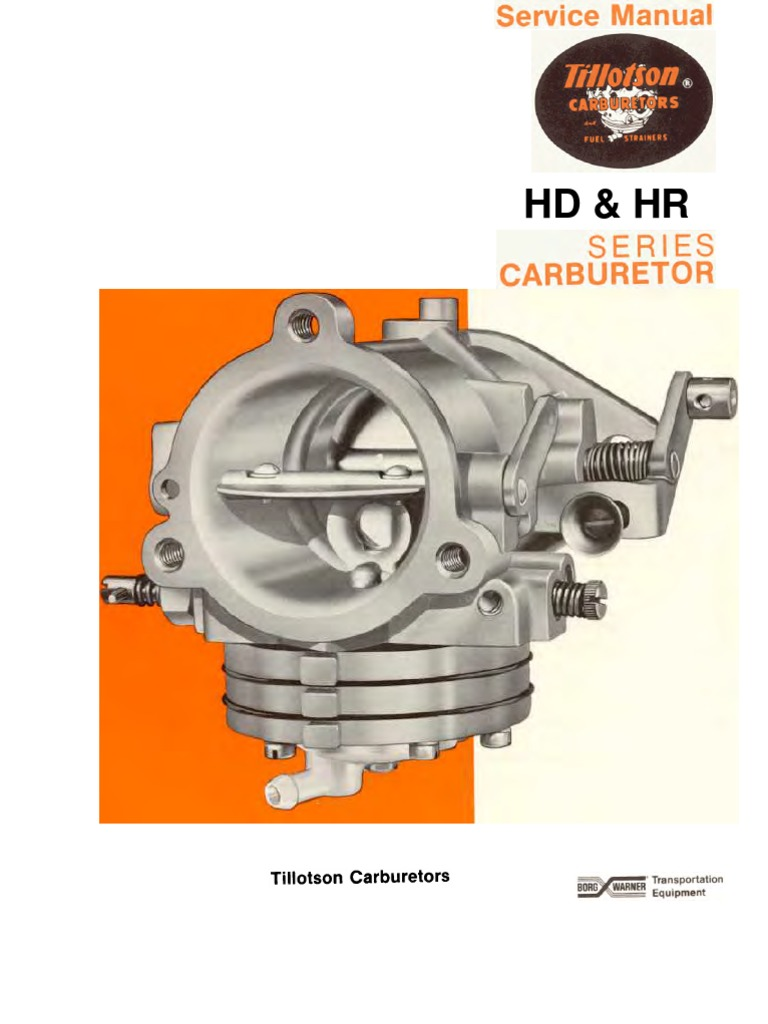 tillotson hd hr service manual carburetor throttle rh scribd com Tillotson Carburetor Application Chart Tillotson Carburetor Application Chart