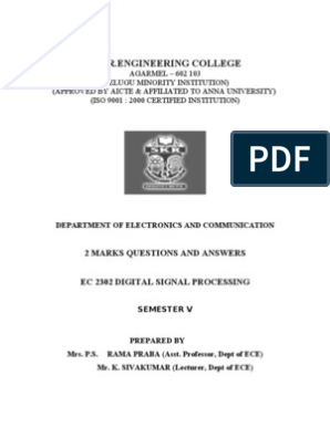 DSP FINAL 2MARK_ece 1 and 2 | Discrete Fourier Transform