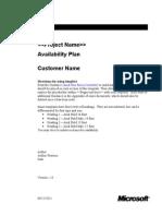 Availability Plan