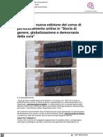 Uniurb, al via il corso Storia di genere, globalizzazione e democrazia della cura - Vivere Urbino.it, 28 settembre 2021