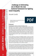 The Challenge of Eliminating Racism in Brazil: The new institutional framework for fighting racial inequality