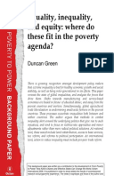 Equality, Inequality, and Equity: Where do these fit in the poverty agenda?