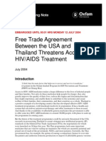 Free Trade Agreement Between the USA and Thailand Threatens Access to HIV/AIDS Treatment