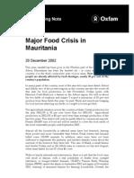 Major Food Crisis in Mauritania