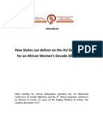 How States can deliver on the AU Declaration for an African Women's Decade 2010-2020