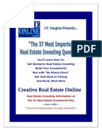 Real Estate - The 37 Most Important Real Estate Investing Questions