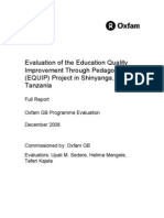 Evaluation of the Education Quality Improvement Through Pedagogy (EQUIP) Project in Shinyanga, Tanzania
