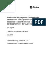 Evaluación del proyecto 'Fortaleciendo capacidades sobre preparacio ante desastres en asentamientos urbano del departamento de Guatemala'