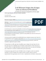 Verba publicitária de Bolsonaro irrigou sites de jogos de azar e de fake news na reforma da Previdência - 09_05_2020 - Poder - Folha