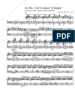 Vivaldi - Violin Concerto in G Minor Op. 8 No. 2 RV. 315 Summer for Solo Piano