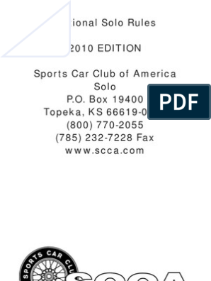 National Solo Rules 2010 EDITION Sports Car Club of America