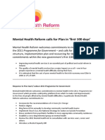 Mental Health Reform calls for Plan in 'first 100 days'