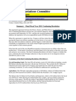 FY 2011 - Final CR Summary