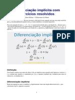 Diferenciação implícita e alguns exemplos resolvidos