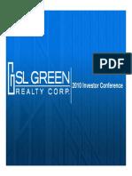 SLG SL Green Realty 2010 Corporate Investor Presentation Slides Deck PPT PDF