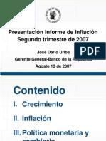 """Presentación.""""Situación actual y perspectivas de la economía colombiana"""" Bogotá, Agosto 13 de 2007."""