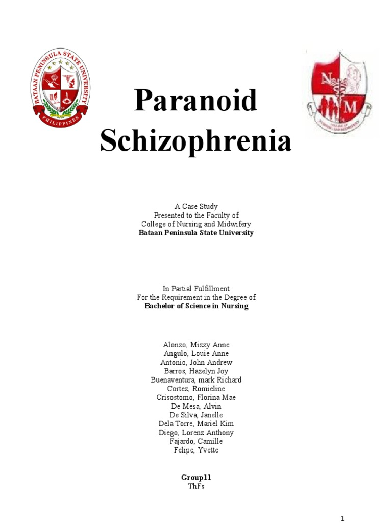 Case study on schizophrenia paranoid