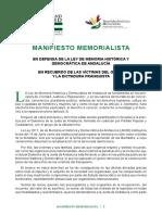 Manifiesto Memorialista 13 Nov 21