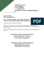Lansing (MI) City Council budget hearings/forums begin tonight