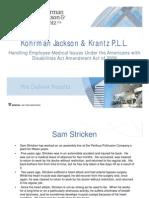 Handling Employee Medical Issues Under the ADAAA (KJK Breakfast Briefing