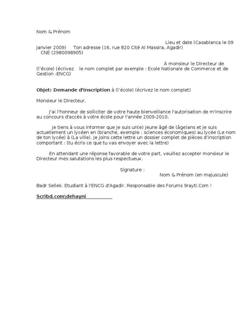 Exemple D Un Demande Manuscrite