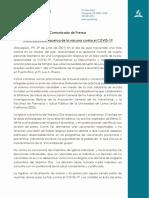 Comunicado de Prensa - Vacuna COVID-19
