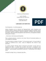 Mensaje de Presupuesto - Luis G. Fortuño, Gobernador de PR 2011 (final)