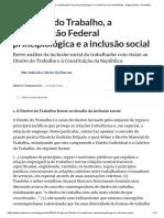 O Direito do Trabalho, a Constituição Federal principiológica e a inclusão social (Trabalhista) - Artigo jurídico - DireitoNet