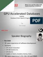 GPU Accelerated Databases  MRSC 2011  Bristol