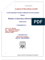 A critical analysis of Micro finance in India