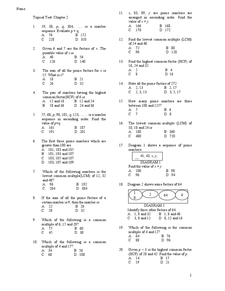 Chapter 2 Math Form 1 Topical Test Paper 1 Prime Number Mathematical Concepts