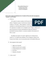 """Informe del Consejo de Estudiantes de la Facultad de Educación sobre los programas """"en pausa"""" en la Facultad"""